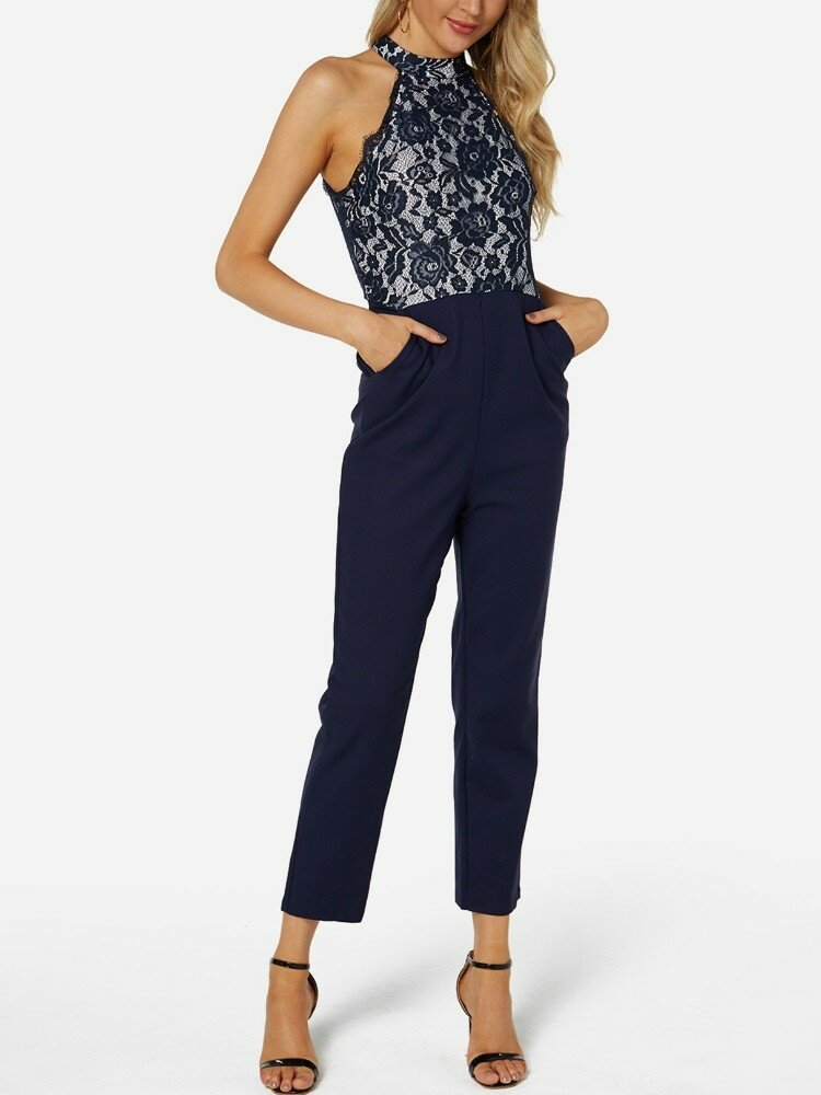 Floral Lace Patchwork Long Sleeveless Casual Jumpsuit for Women