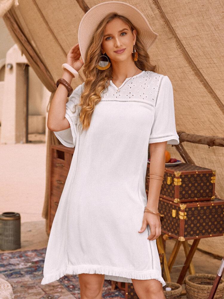 Bohenmia Hollow Out Tassel Short Sleeve Dress for Women
