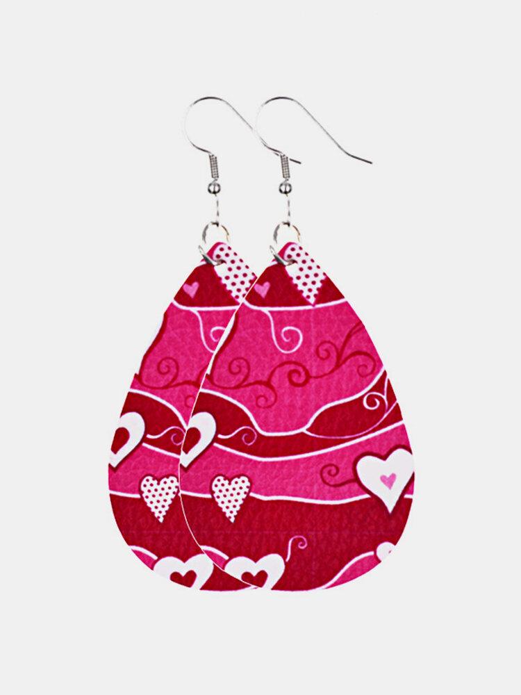 Vintage Drop-Shape Women Earrings Love Pattern Leather Earrings Valentine's Day Gift