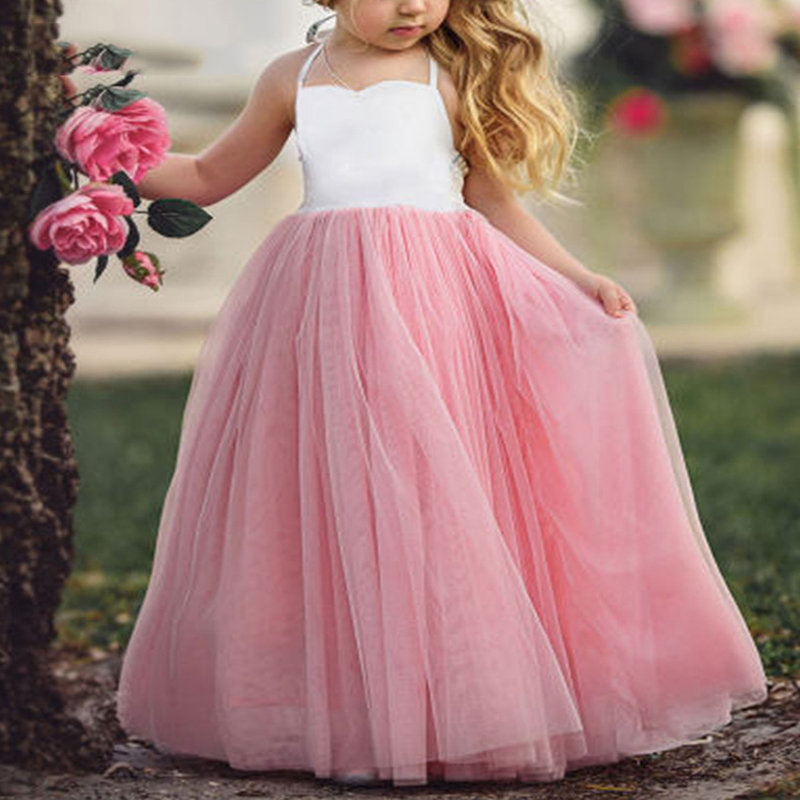 Mesh Strap Toddlers Girls Kids Sleeveless Pageant Princess Party Dresses