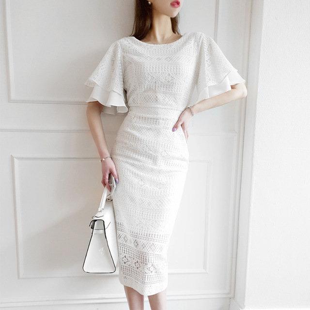 Ruffled Sleeve Lace Dress Step Slim Mid-length Slim Bag Hip Party Dress