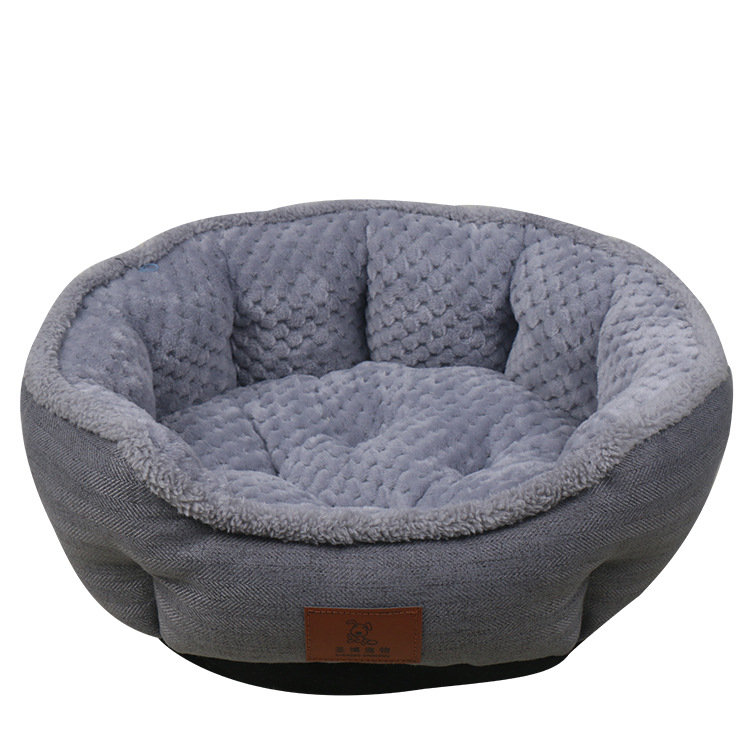 Color_Gray_Soft_Linen_Pet_Kennel_Bed_with_Cusion_Mat_Dog_Cat_Warm_Kennel