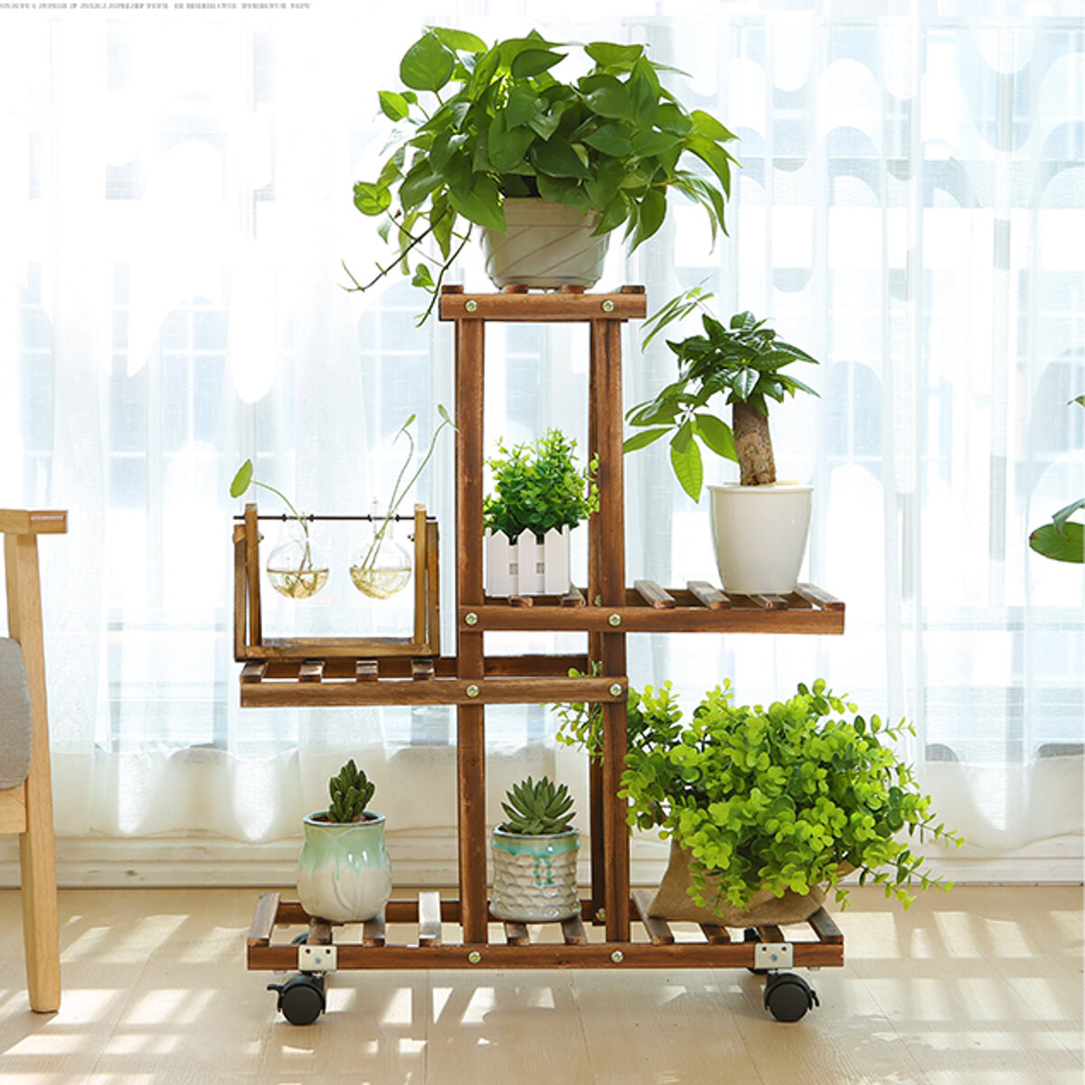 <US Instock> Premium Bamboo Wooden Plant Stand Indoor Outdoor Garden Planter Flower Pot Shelf