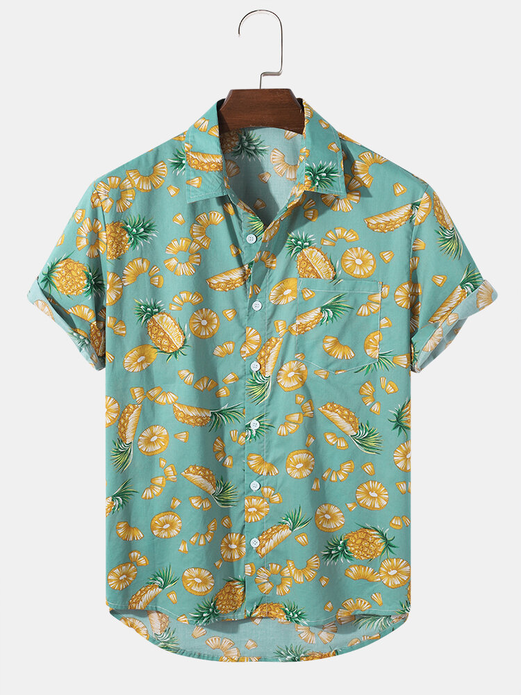 100% Cotton Mens Pineapple Graphics Lapel Short Sleeve Shirt With Pocket