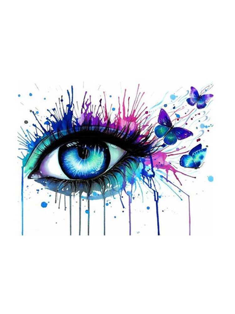 Framless  DIY Paint by Number Kit Colorful Eyes Painting Wall Living Room Home Decoration