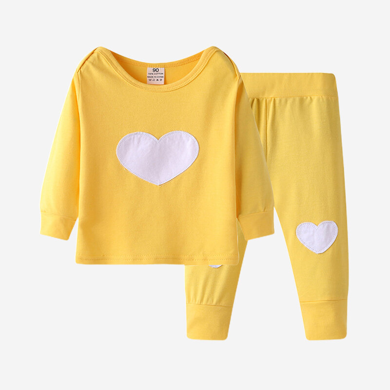 Baby Heart Love Print Long-sleeved Casual Pajama Clothing Set For 6-24M