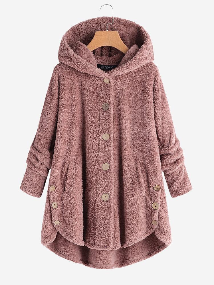 Флисовые зимные пальто с капюшоном