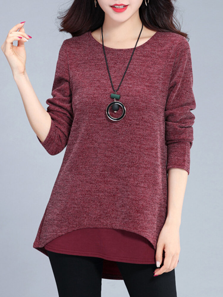 Fake Two Pieces Long Sleeve O-neck Women Blouse