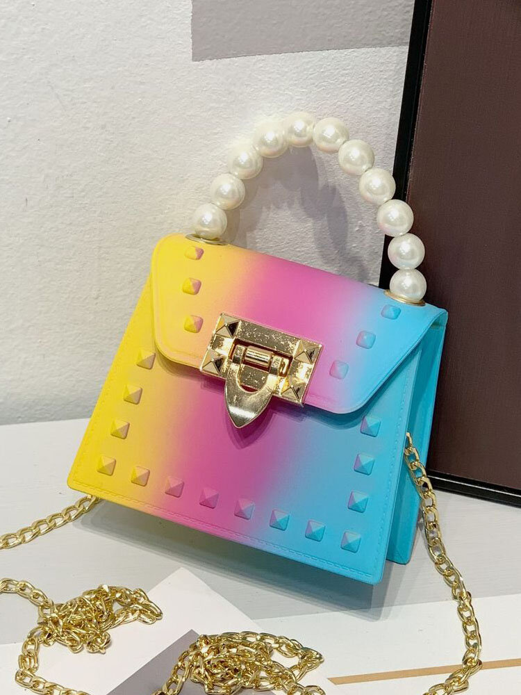 Stylish Pyramid Embellishment Flap Ombre Color Wearable Exquisite Hardware PVC Mini Jelly Cosmetic Bag