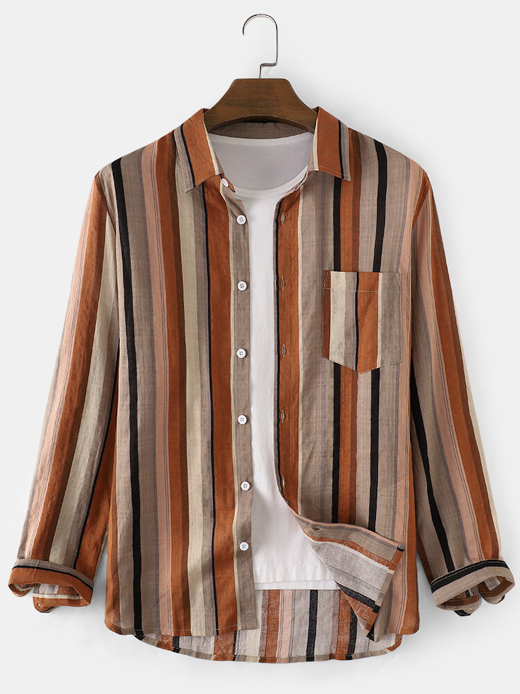 Mens Cotton Vintage Striped Print Chest Pocket Daily Fit Shirts