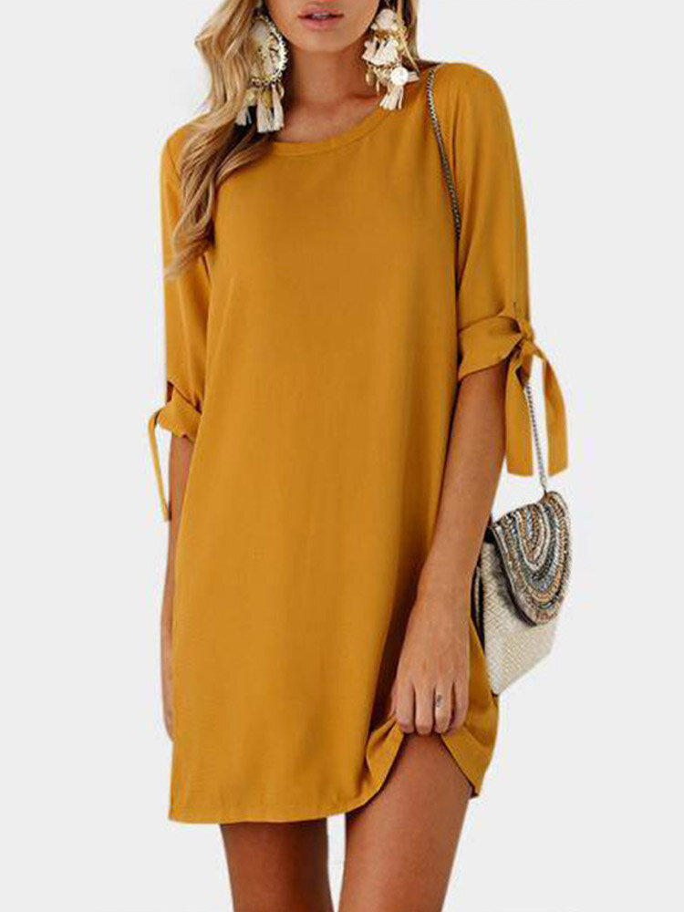 Knotted Long Sleeve O-neck Casual Mini Plus Size Dress