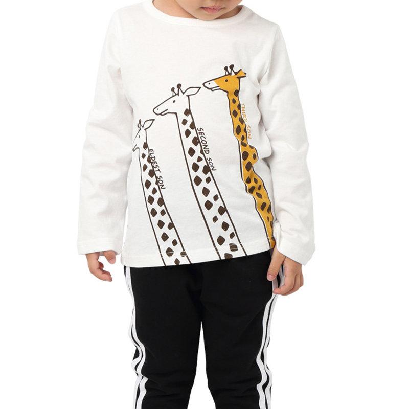 Lovely Giraffe Print Toddler Girls Kids Long Sleeve T-Shirt Tops For 2Y-11Y