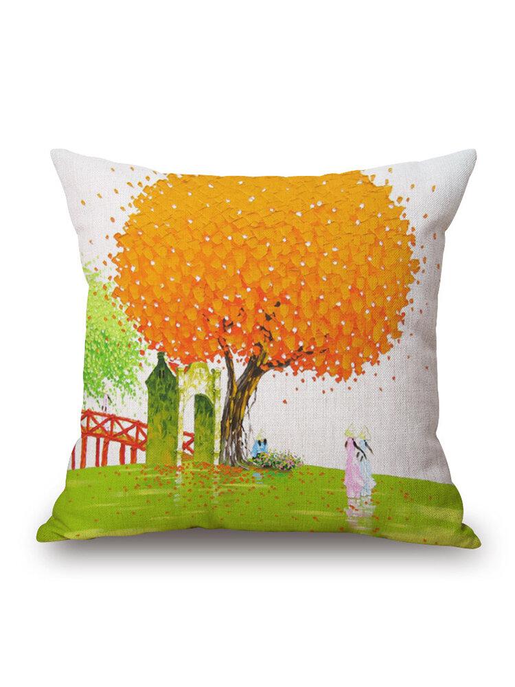 45x45cm Creative Tree Oil Painting Decorative Cushion Cover Pillowcase Home Decor For Sofa Car