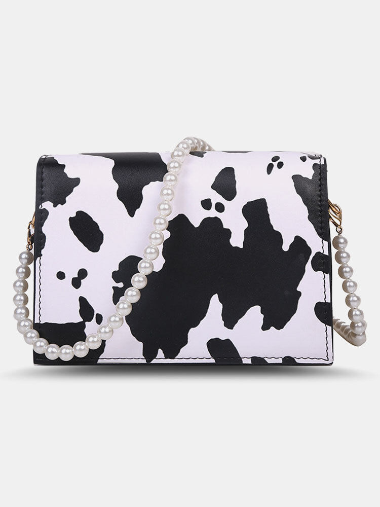 Women PU Leather Pearls Cow Pattern Printed Crossbody Bag Square Bag
