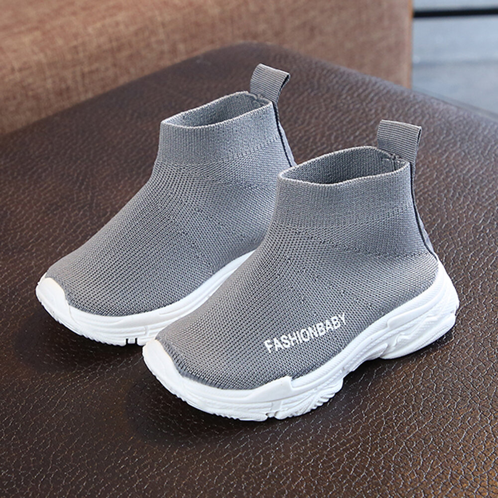 Unisex Kids Fabric Comfy Breathable Soft Sole Sock Sneakers