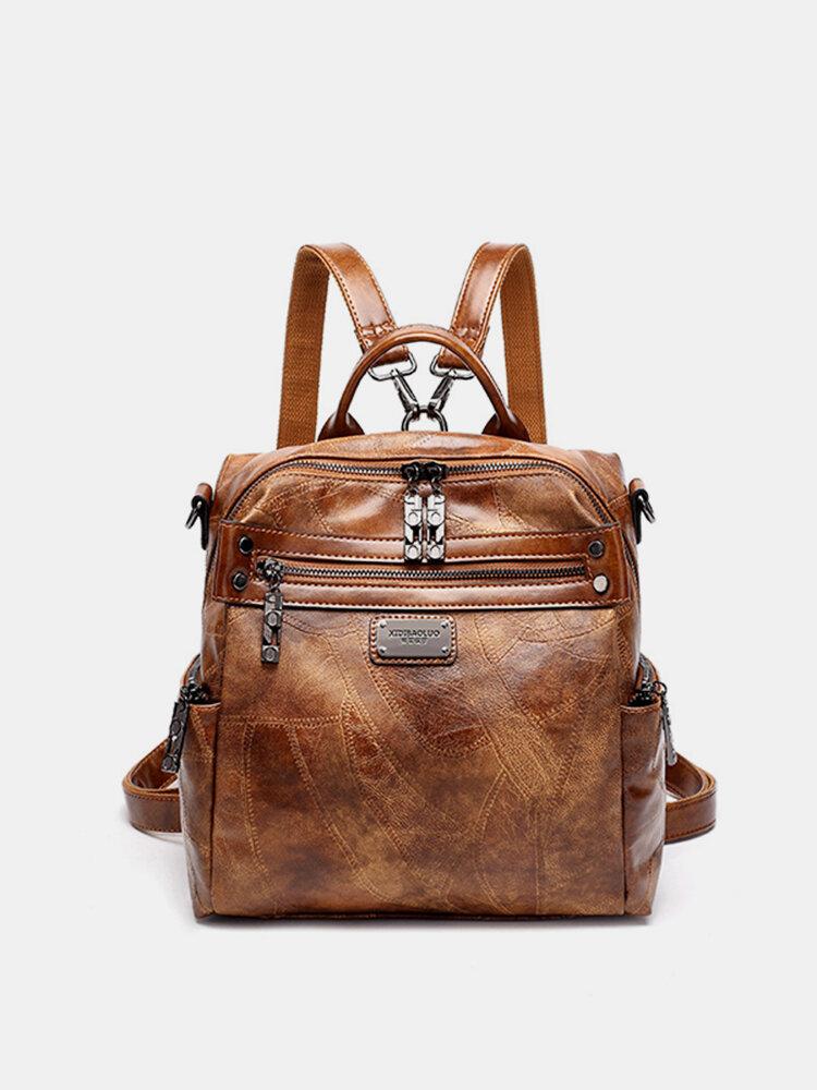 Women Vintage Oil Wax Multi-function Backpack Large Capacity Crossbody Bags Solid Handbags