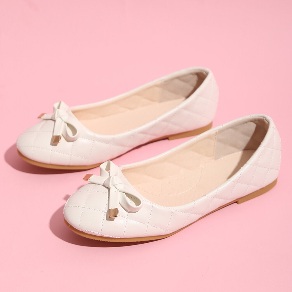 Girls Bowknot Decor Comfy Slip On Flat Priness Loafers
