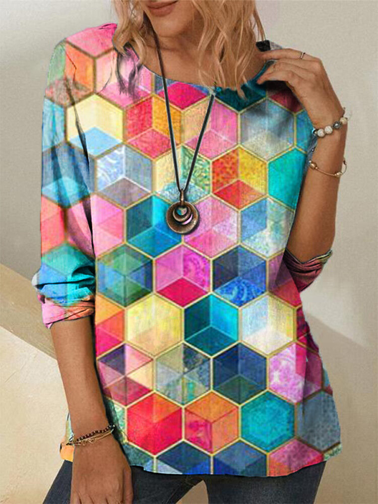 Color Block Print O-neck Long Sleeve Plus Size Casual T-shirt for Women