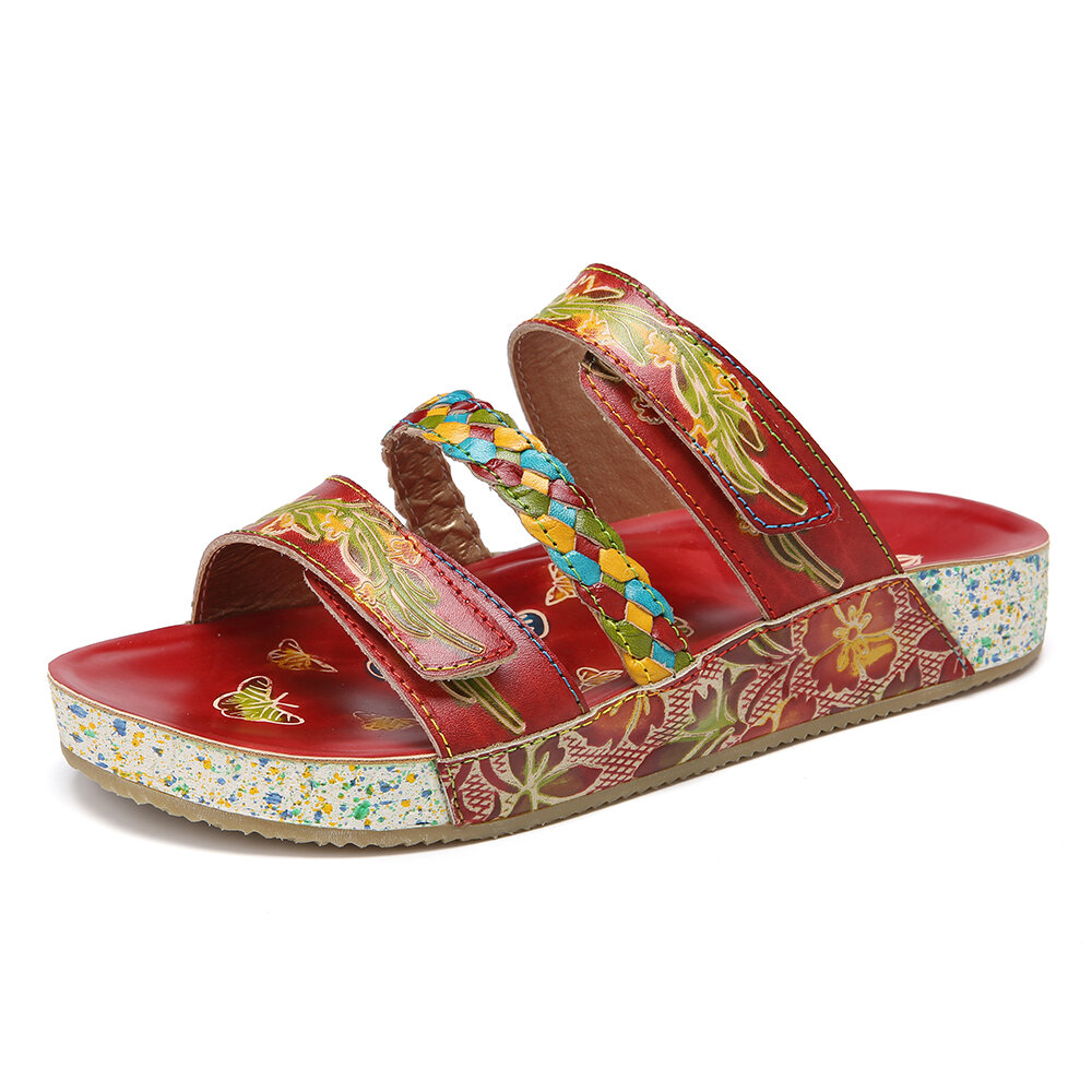 SOCOFY Bohemia Handmade Leather Floral Braided Hook&Loop Strap Slip on Flat Slides Sandals