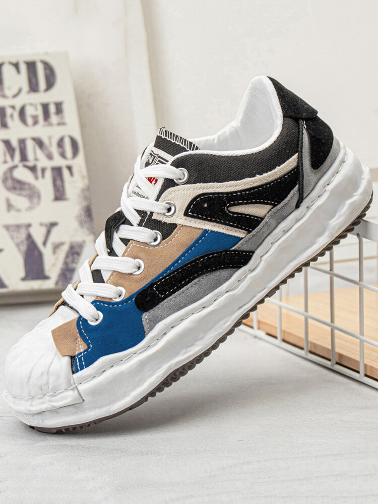 Men Stylish Color Blocking Fabric Sport Outdoor Casual Shoes