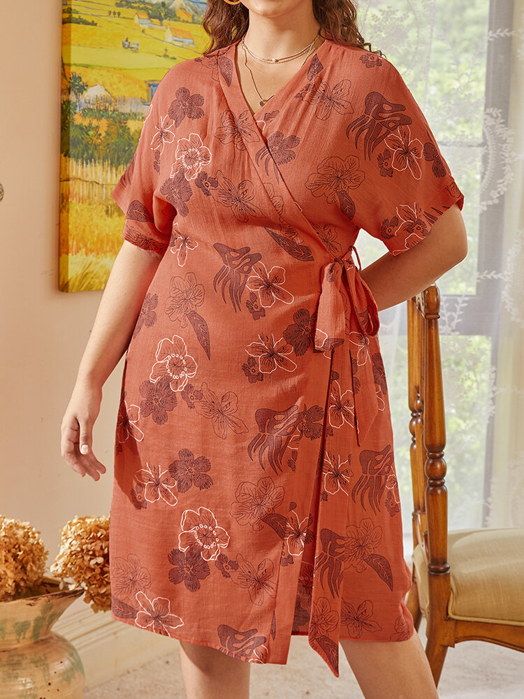 Flower Print Knotted Waist V-neck Midi Plus Size Casual Dress