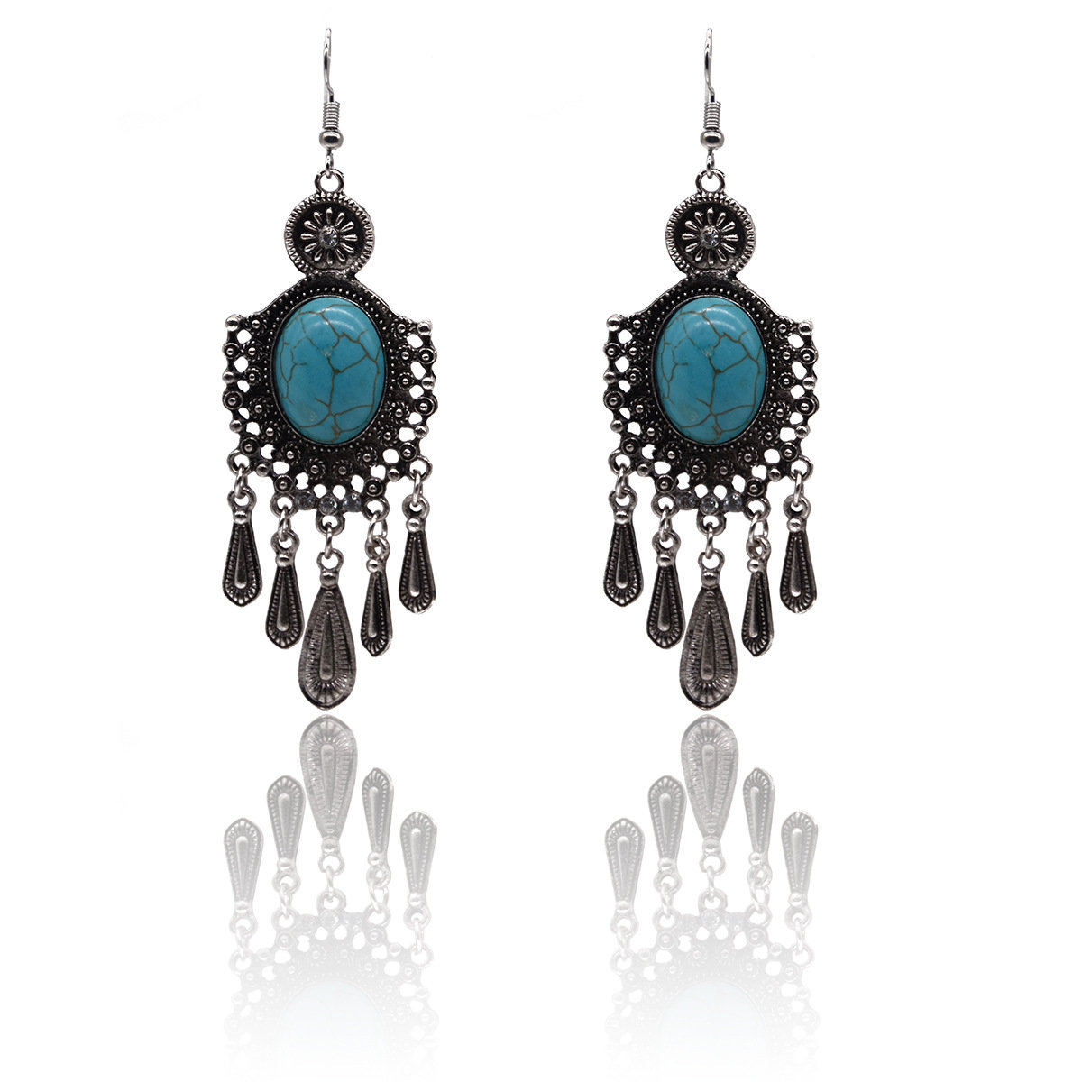 Bohemian Alloy Turquoise Water Drop Tassel Rhinestone Earrings
