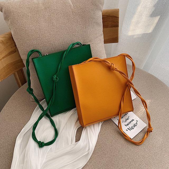 New Tide Net Red Fashion Handbags Wild Simple Pu Bag Texture One Shoulder Simple Fashion Small Square Bag
