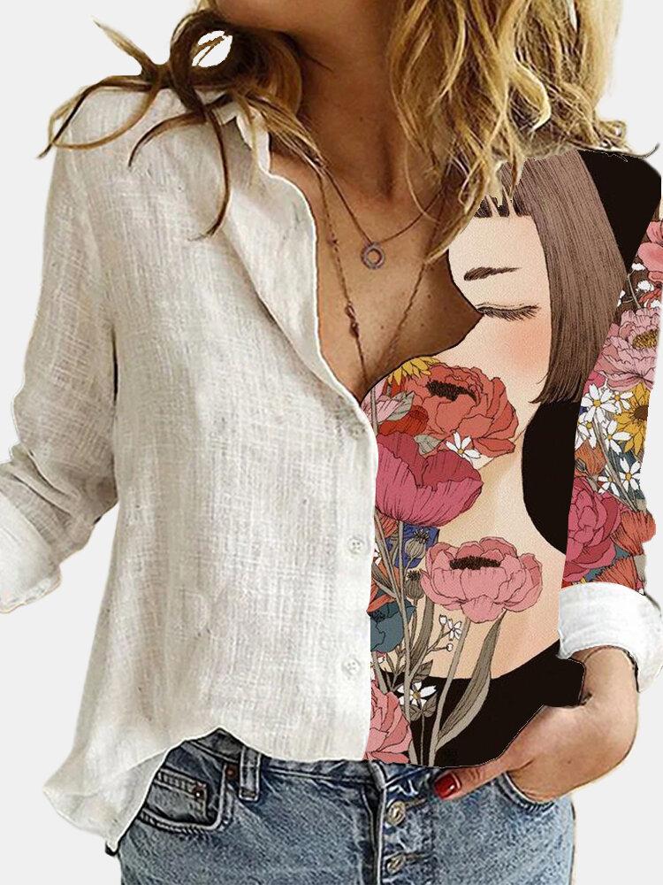 Blusa de retazos con cuello vuelto y manga larga con estampado de flores para niña para Mujer