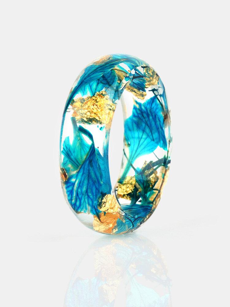 Anel Multicolor de Resina Flor Seca Feito à Mão DIY Transparente Ouro Folha Anel Unissex Epóxi