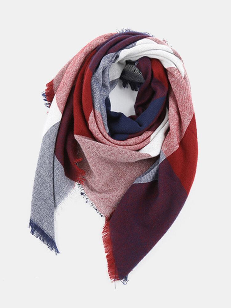 Women Warm Lattice Square Scarf Shawl Oversized  Blanket Wrap Tassel Edge Scarves