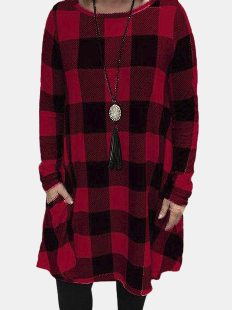 Casual Plaid Print O-neck Long Sleeve Plus Size Blouse for Women
