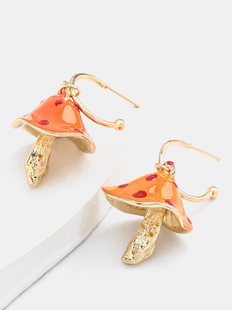Boucles d'oreilles pendantes champignon stéréo en alliage bohème Boucles d'oreilles dégoulinant de tempérament