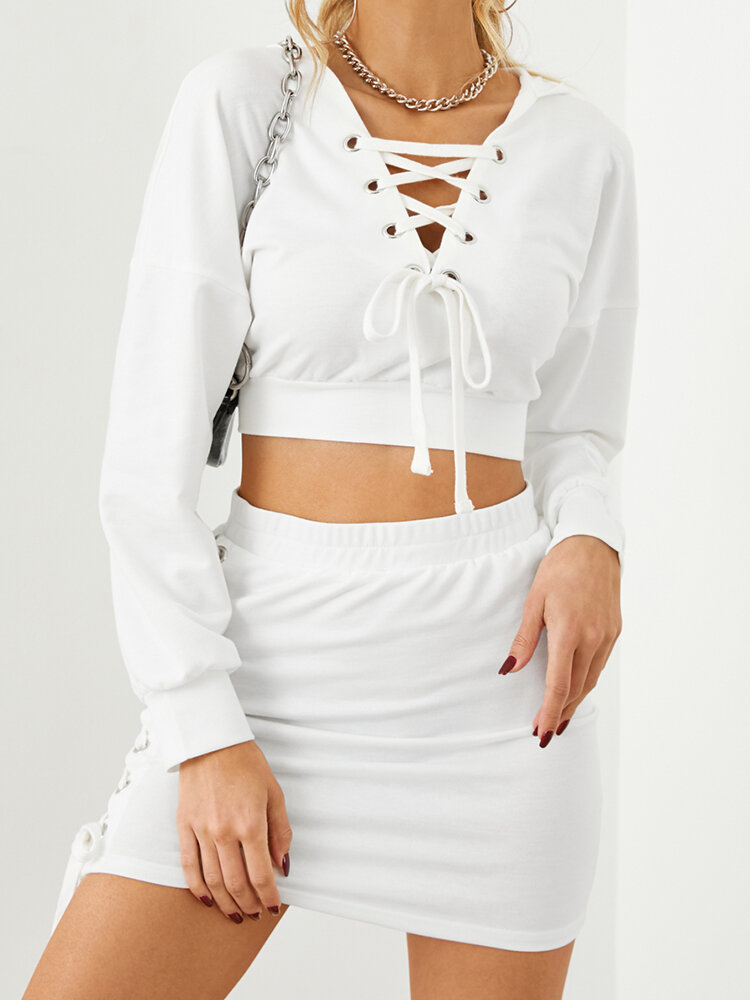 Solid Color Long Sleeve Knotted Hoodie Short Skirt Casual Set for Women