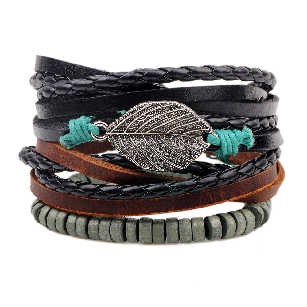 Retro_Mens_Leather_Wax_Rope_Beads_Multi_Strand_Leaf_Pendant_DIY_Bracelets