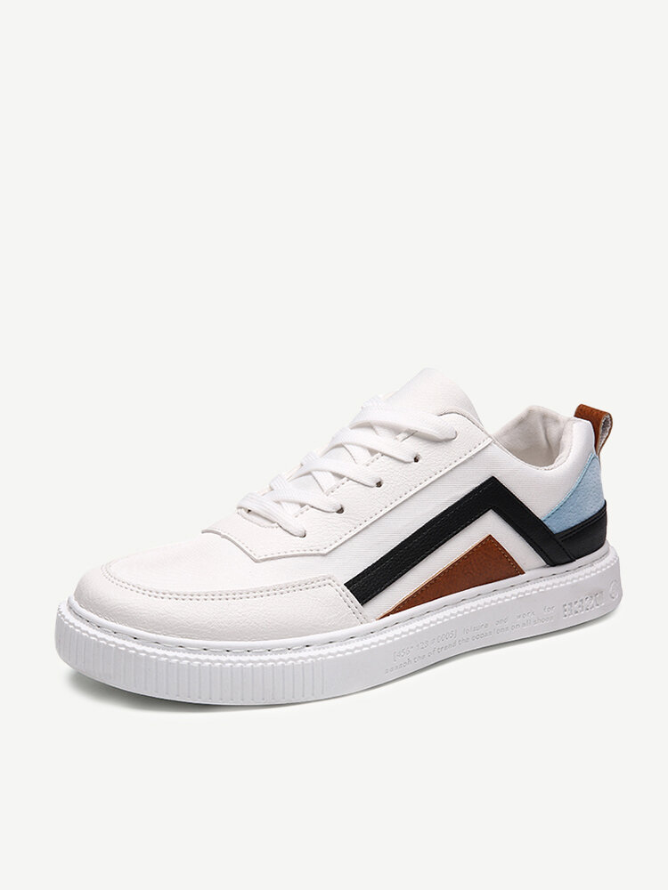 Mens Color blocking Splicing Comfy Low Top Casual Trainers Shoes
