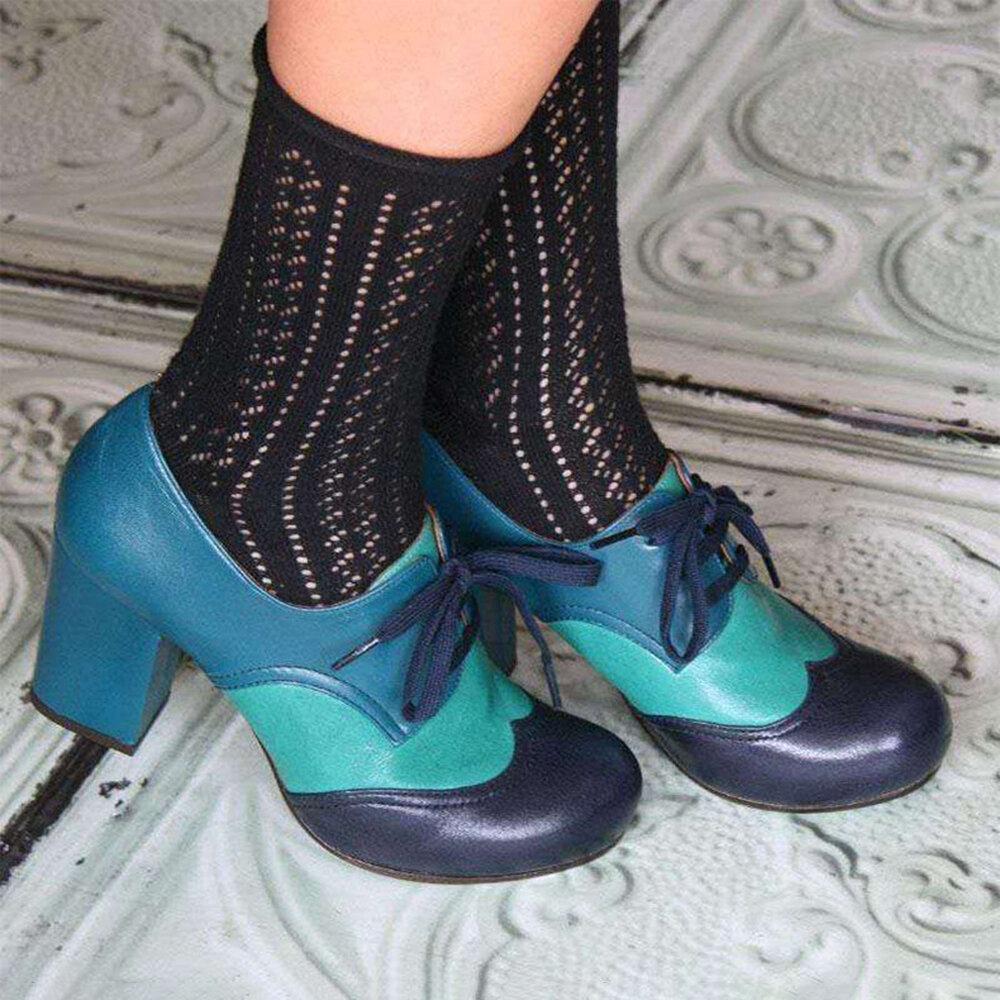 Tallas grandes Mujer Zapatos de tacón grueso con cordones y empalmes casuales