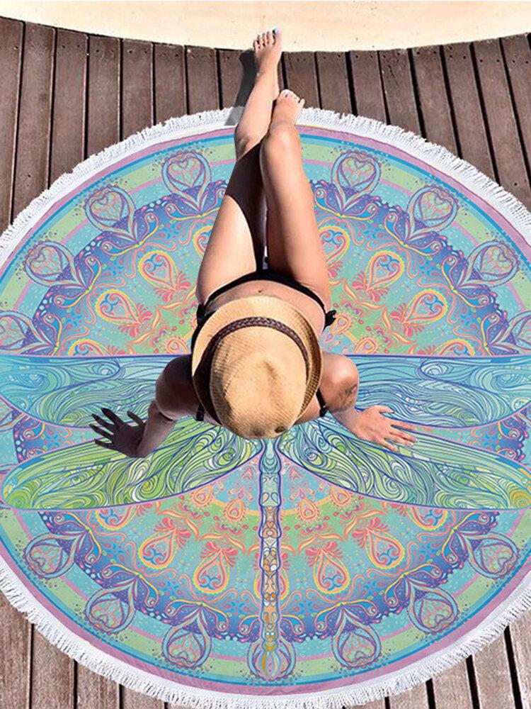 Bohemian Mandala Printing Microfiber Round Tassel Beach Towels Yoga Mat Round Blanket