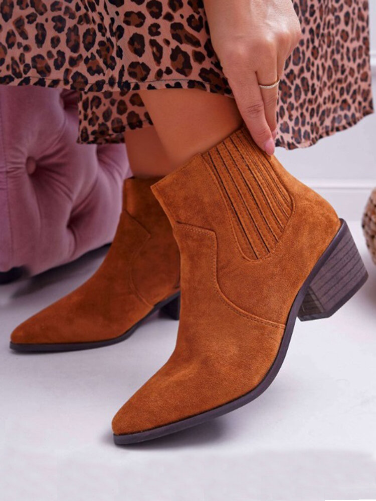 Plus Size Women Suede Pointed Toe Chunky Heels Zipper Chelsea Boots