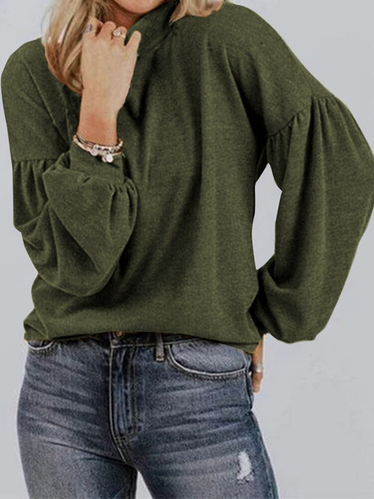 Solid Color Lantern Sleeves O-neck Casual Sweater For Women