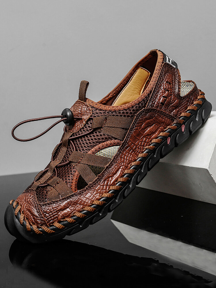 Men Large Size Lace-up Closed Toe Hand Stitching Outdoor Sandals