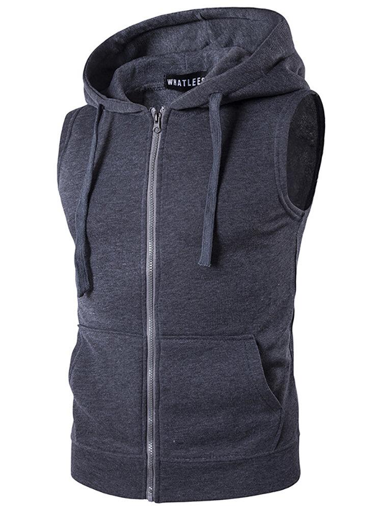 Men Drawstring Hooded Solid Color Sleeveless Vest