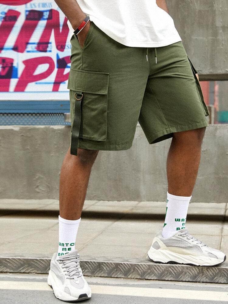 メンズソリッド100%コットンストリートドローストリングカーゴショーツ、フラップポケット付き