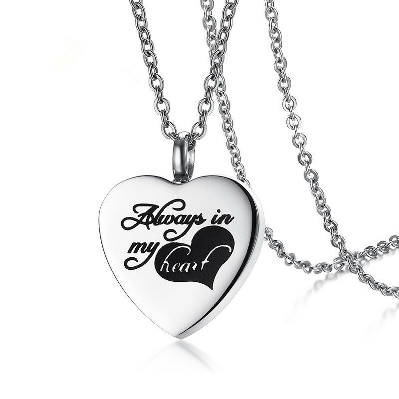 Stainless Steel Empty Bottle Love Heart Charm Necklace Perfume Bottle Necklace for Women Gift