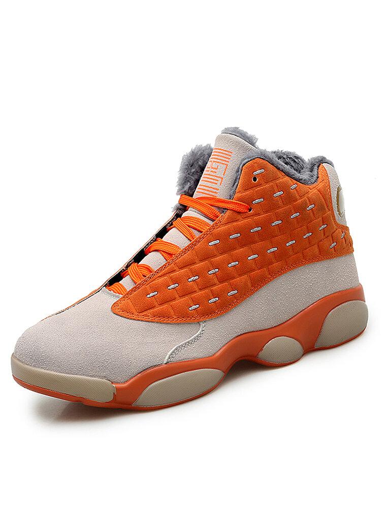 Men Soft Microfiber Leather Slip Resistant Warm Lining Sport Casual Sneakers