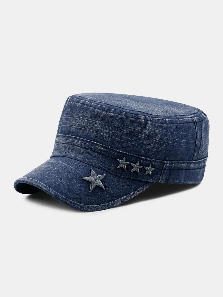 Men Denim Embroidery Print Star Decor Sunshade Outdoor Military Hat Flat Hat Peaked Cap