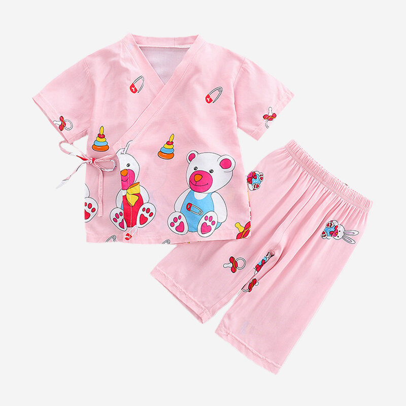 Girl's Cartoon Print Short Sleeves Lace-up Casual Pajama Set For 2-8Y