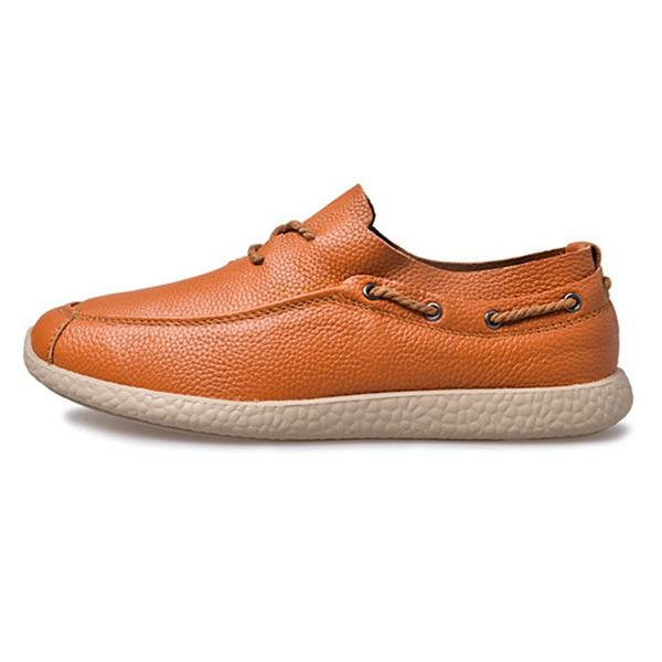 Pure Color Lace Up Soft Sole Flat Casual Driving Loafers For Men