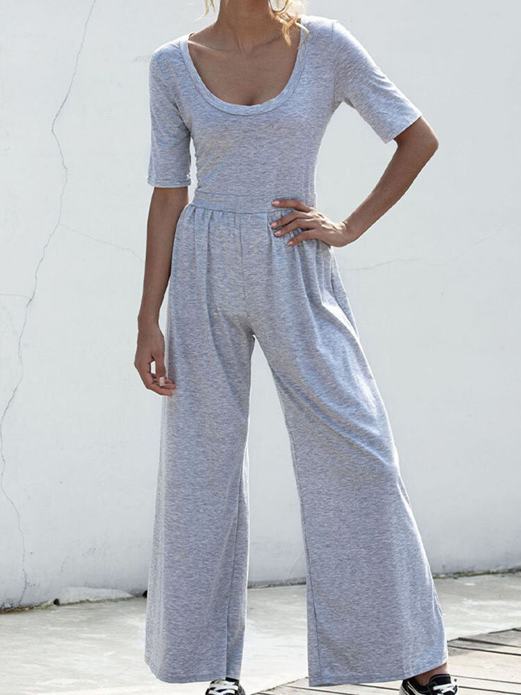 Solid O-neck Wide Leg Jogger Jumpsuit Activewear for Women