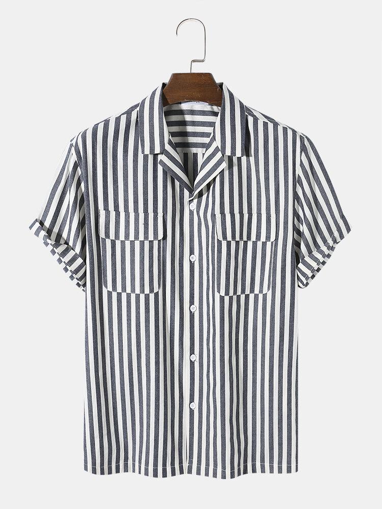 Mens 100% Cotton Breathable Striped Double Pocket Revere Collar Short Sleeve Shirt
