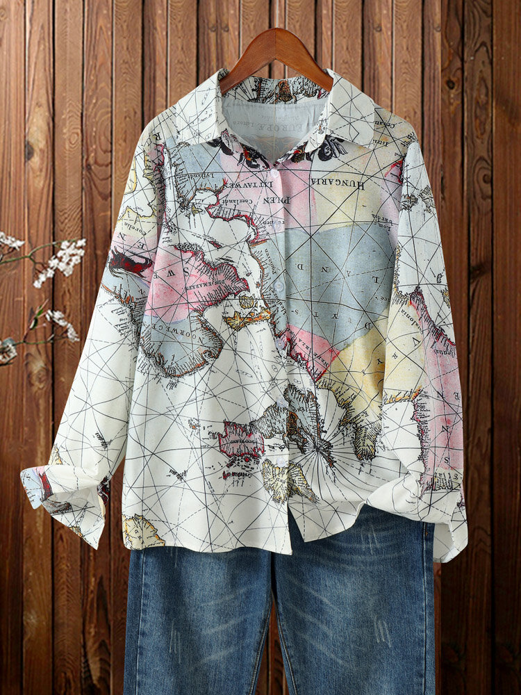 World Map Printed Button Long Sleeve Casual Plus Size Shirt